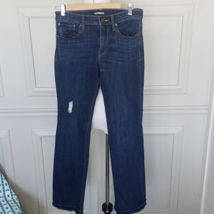 Mid-rise distressed bootcut jean